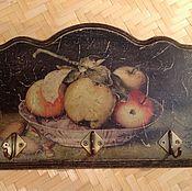 """Для дома и интерьера ручной работы. Ярмарка Мастеров - ручная работа Вешалка панно """"Яблоки на блюде"""". Handmade."""