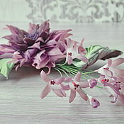 handmade. Livemaster - original item Brooch made of silk Dahlia with bells. Handmade.