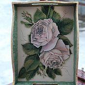 """Для дома и интерьера ручной работы. Ярмарка Мастеров - ручная работа Поднос """"Розы на снегу"""". Handmade."""
