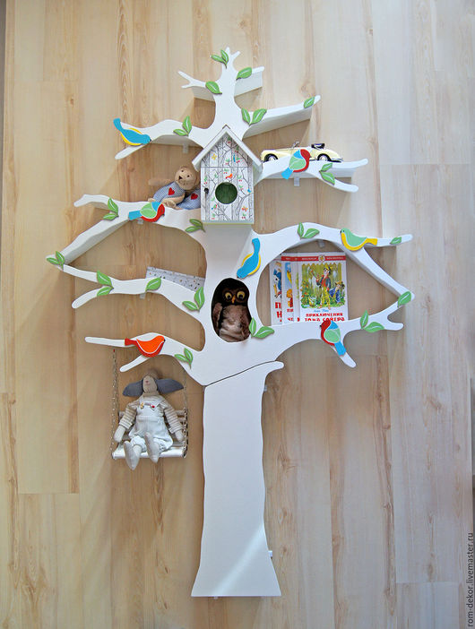 Детская ручной работы. Ярмарка Мастеров - ручная работа. Купить Белое дерево-стеллаж для детской комнаты 6. Handmade. Белый