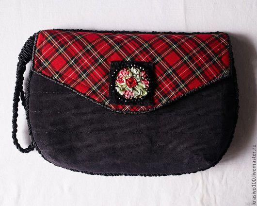 Женские сумки ручной работы. Ярмарка Мастеров - ручная работа. Купить Сумка клатч_Шотландка красный черный с вышивкой. Handmade.