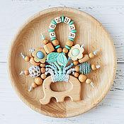 Работы для детей, handmade. Livemaster - original item Teething toy-elephant with the name of your baby) blue, grey, mint. Handmade.