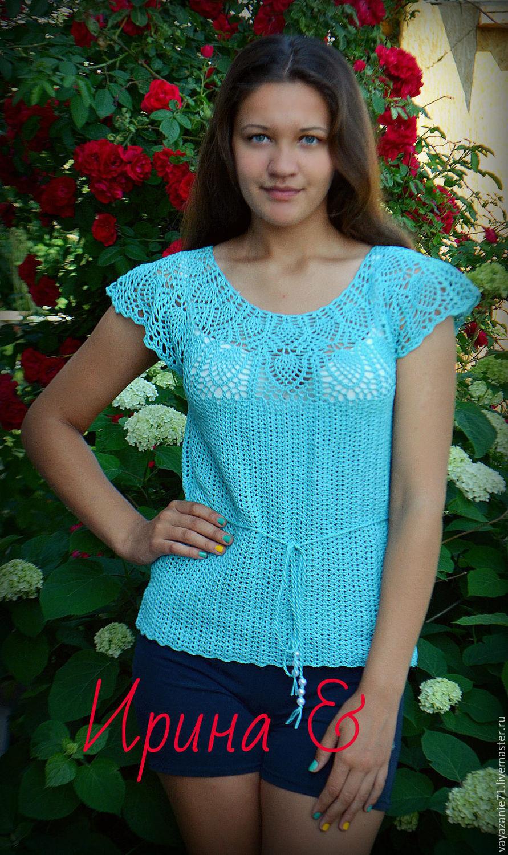 Вязанная блуза на лето