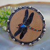 Украшения handmade. Livemaster - original item Florentine mosaic, silver: dragonfly ring