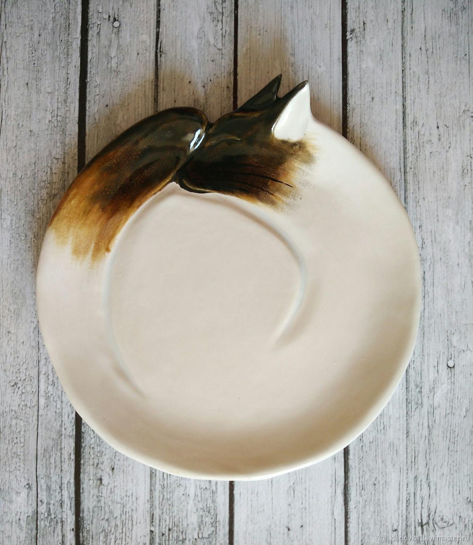 Декоративная посуда ручной работы. Ярмарка Мастеров - ручная работа. Купить Сиамский кот настенная тарелка. Handmade. Полосатый кот
