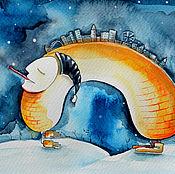 """Картины и панно ручной работы. Ярмарка Мастеров - ручная работа Картина акварелью """"Город и снег"""". Handmade."""