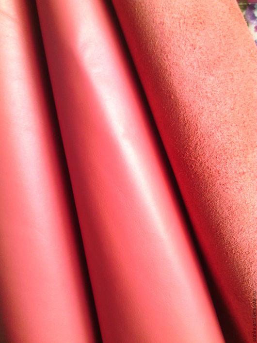 """Шитье ручной работы. Ярмарка Мастеров - ручная работа. Купить Кожа натуральная 1-1.2мм  """"Pearly"""". Handmade. Коралловый"""