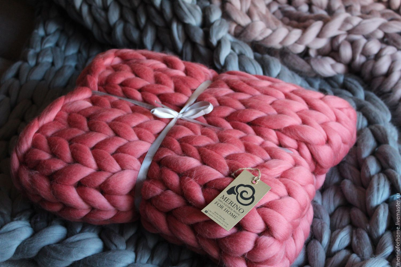 плед из толстой пряжи 100 меринос Merino For Home коралл
