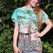 Одежда ручной работы. Ярмарка Мастеров - ручная работа Туманный Альбион батик платье. Handmade.