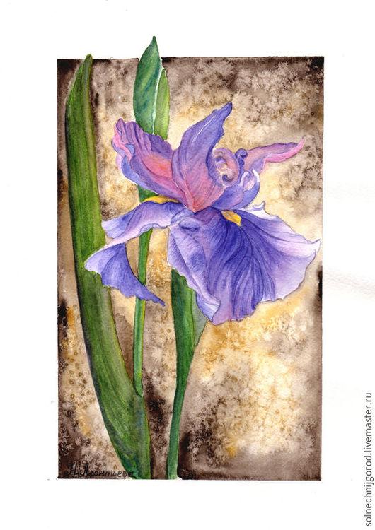 """Картины цветов ручной работы. Ярмарка Мастеров - ручная работа. Купить Акварель """"Ирис"""".. Handmade. Фиолетовый, картина с цветами"""