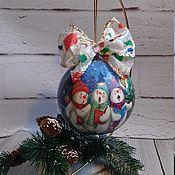 """Подарки к праздникам ручной работы. Ярмарка Мастеров - ручная работа Шарик """"Хор снеговиков"""". Handmade."""