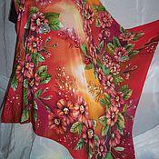 Платок батик  Цветочные мотивы