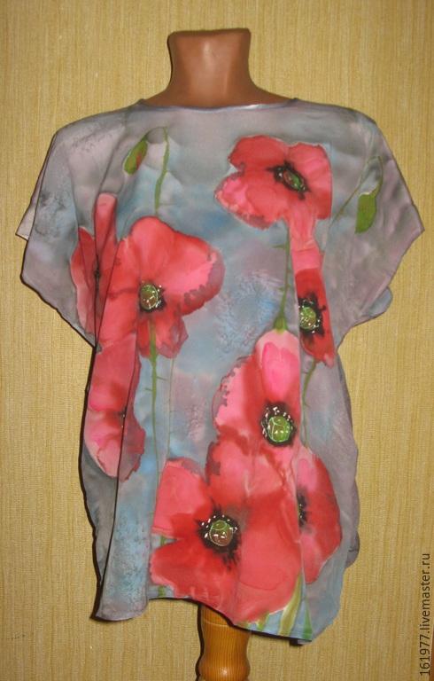 """Блузки ручной работы. Ярмарка Мастеров - ручная работа. Купить Батик. Блузка """"Красные маки"""". Handmade. Серый, цветы"""