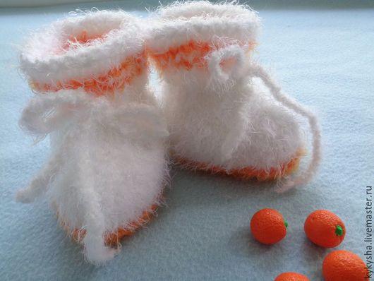 """Для новорожденных, ручной работы. Ярмарка Мастеров - ручная работа. Купить Пинетки """"Апельсинки на снегу"""" .. Handmade. Комбинированный, пинетки для новорожденных"""