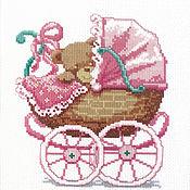 Для дома и интерьера ручной работы. Ярмарка Мастеров - ручная работа Детская метрика вышивка в розовой коляске. Handmade.