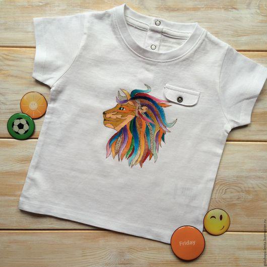 Одежда для мальчиков, ручной работы. Ярмарка Мастеров - ручная работа. Купить Футболка Brave Lion. Handmade. Белый, футболка