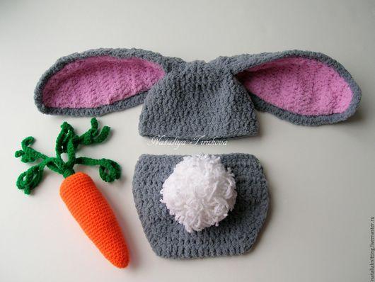 """Для новорожденных, ручной работы. Ярмарка Мастеров - ручная работа. Купить """"Кролик""""для фотосессии. Handmade. Серый, комплект для девочки"""