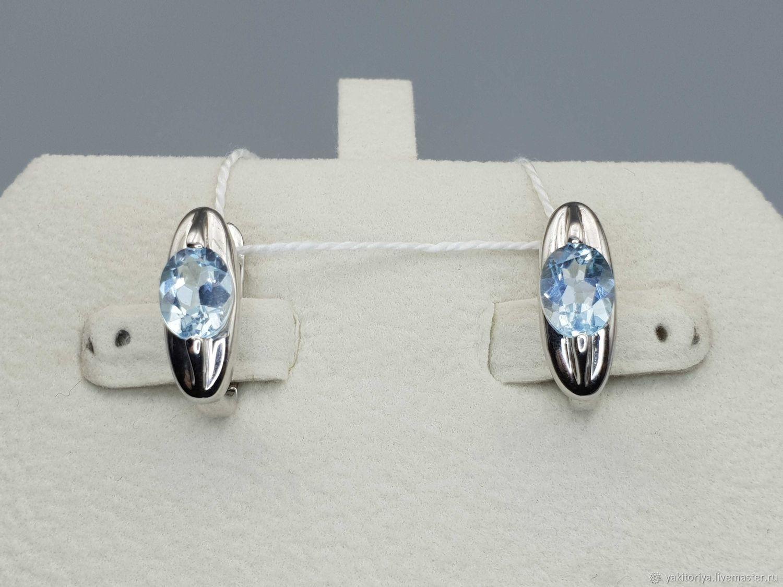 Silver earrings with topaz 8h6 mm, Earrings, Moscow,  Фото №1