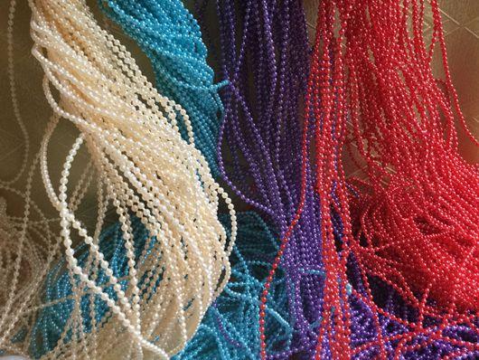 Материалы для флористики ручной работы. Ярмарка Мастеров - ручная работа. Купить Бусины на нити (3 мм). Handmade. Комбинированный, бусы