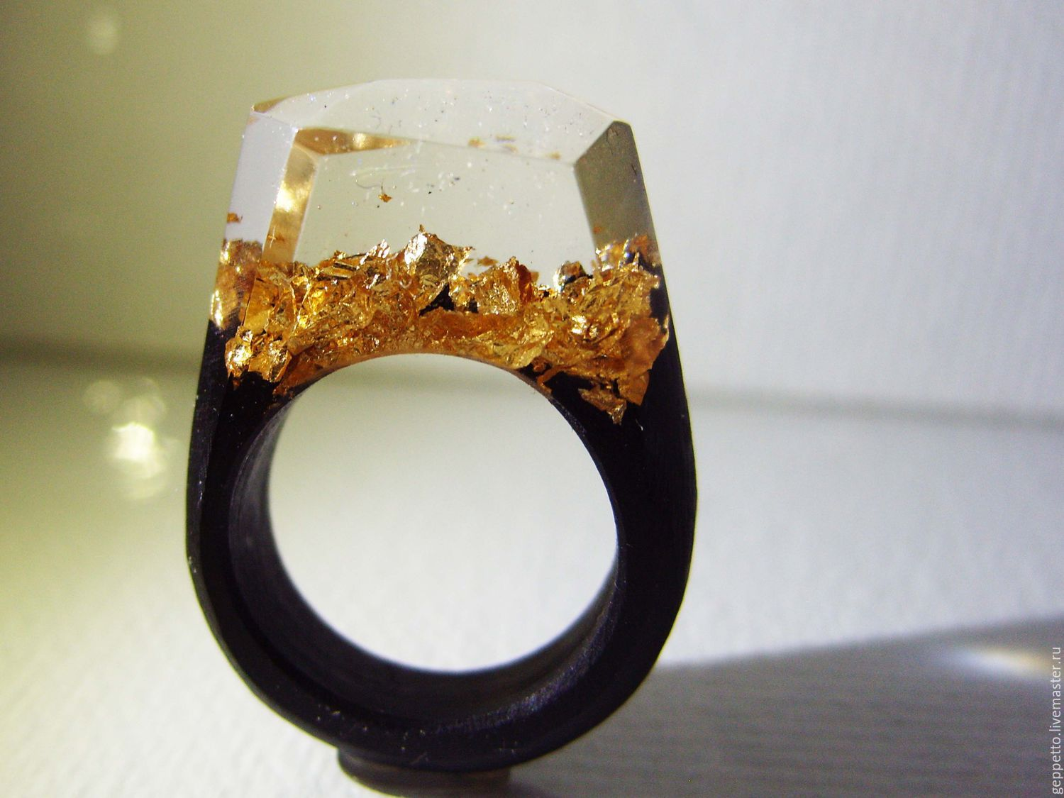 Wooden ring mountains of Gold. Ring of wood – shop online on ...