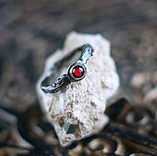Украшения handmade. Livemaster - original item Thin silver ring sprig with pomegranate