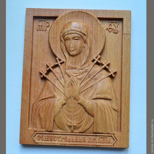 Иконы ручной работы. Ярмарка Мастеров - ручная работа. Купить Резная икона из дерева Богородица Семистрельная,  110х135 мм. Handmade.