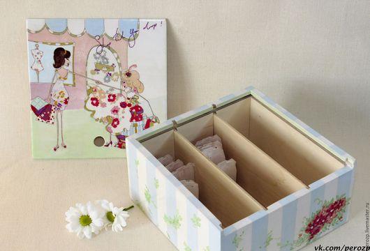 """Кухня ручной работы. Ярмарка Мастеров - ручная работа. Купить Чайная коробка """"Подружки"""". Handmade. Голубой, коробка для чая"""