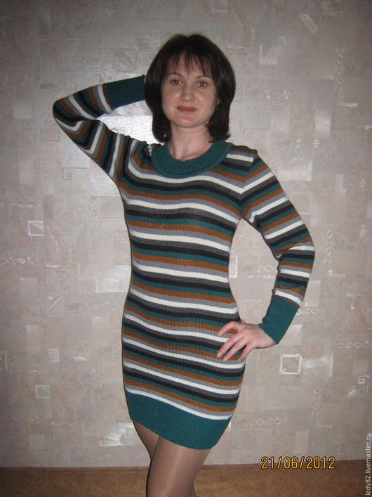 Платья ручной работы. Ярмарка Мастеров - ручная работа. Купить В полосочку. Handmade. Комбинированный, цветное платье, вязанное платье