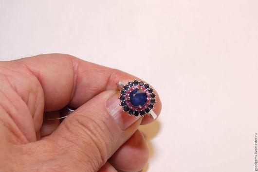 Кольца ручной работы. Ярмарка Мастеров - ручная работа. Купить серебряное кольцо с сапфиром и рубином. Handmade. Тёмно-синий, рубин