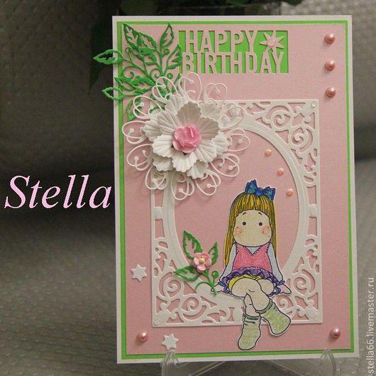 Открытки на день рождения ручной работы. Ярмарка Мастеров - ручная работа. Купить ОТКРЫТКА  на День Рождения. Handmade. Розовый