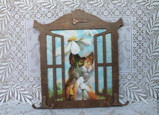 """Прихожая ручной работы. Ярмарка Мастеров - ручная работа. Купить Ключница """"Кот и ангел."""". Handmade. Комбинированный, ключница в подарок"""