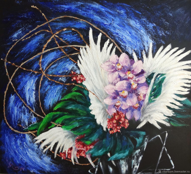 Икебана из орхидей на чёрном фоне, Картины, Минск,  Фото №1