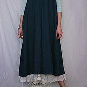 Одежда ручной работы. Ярмарка Мастеров - ручная работа Cарафан из льна Арт.102а темно-синий, размер 52-54. Handmade.