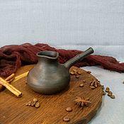 Посуда ручной работы. Ярмарка Мастеров - ручная работа Глиняная джезва для кофе по-турецки (чернолощения керамическая турка). Handmade.