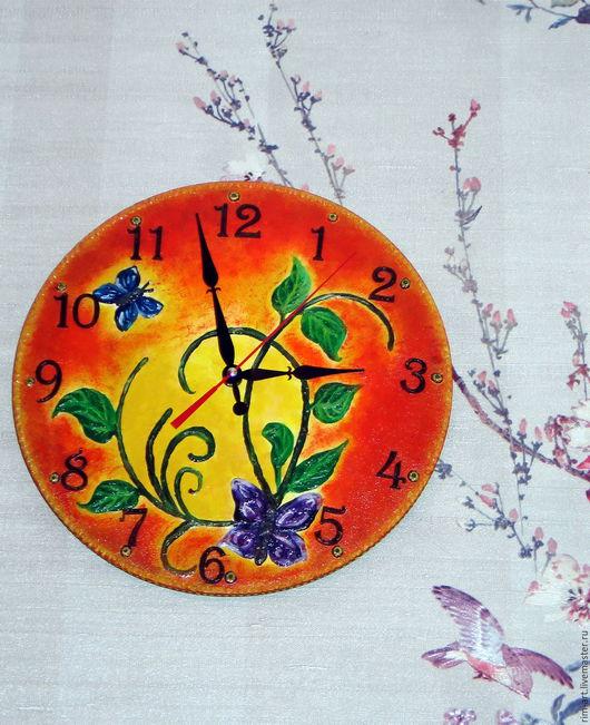 """Часы для дома ручной работы. Ярмарка Мастеров - ручная работа. Купить Часы настенные """"Бабочки"""". Handmade. Оранжевый, зелень"""