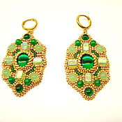 Украшения handmade. Livemaster - original item Green Byzantine Earrings with beads and cabochons Empress Helena. Handmade.