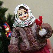 Куклы и игрушки ручной работы. Ярмарка Мастеров - ручная работа Грушенька - ватная елочная игрушка. Handmade.
