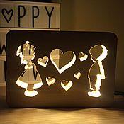 Для дома и интерьера handmade. Livemaster - original item Wooden hight Lamp made of natural wood First love Gift. Handmade.
