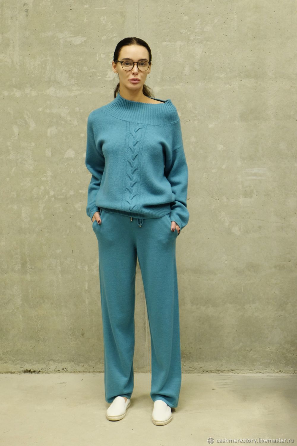 Suit knitted womens Turquoise, Suits, Moscow,  Фото №1