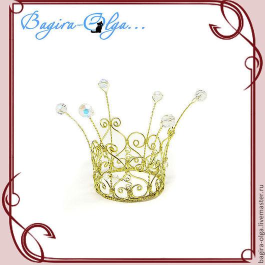 """Свадебные украшения ручной работы. Ярмарка Мастеров - ручная работа. Купить корона """"Золотая принцесса"""". Handmade. Корона, горный хрусталь"""
