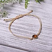 Украшения handmade. Livemaster - original item Minimalist beige bracelet with crystal thread. Handmade.