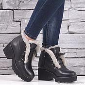 Обувь ручной работы handmade. Livemaster - original item Winter leather boots with real leather and real fur women`s. Handmade.