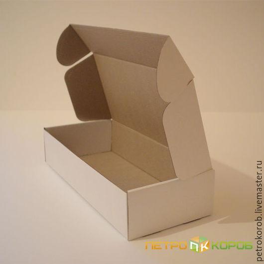 Упаковка ручной работы. Ярмарка Мастеров - ручная работа. Купить Самосборная коробка 031 (18х8х6см) белая. Handmade. Коричневый