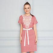 Одежда ручной работы. Ярмарка Мастеров - ручная работа Хлопковое платье розовое 32042. Handmade.