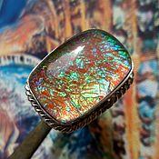 Украшения ручной работы. Ярмарка Мастеров - ручная работа Крупное кольцо с аммолитом, серебро 925. Handmade.