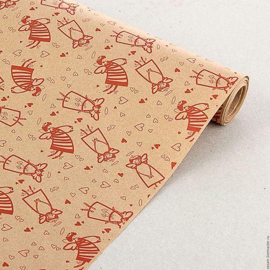 """Упаковка ручной работы. Ярмарка Мастеров - ручная работа. Купить Бумага крафт """"Ангелы"""" красный. Handmade. Крафт-бумага, упаковка"""