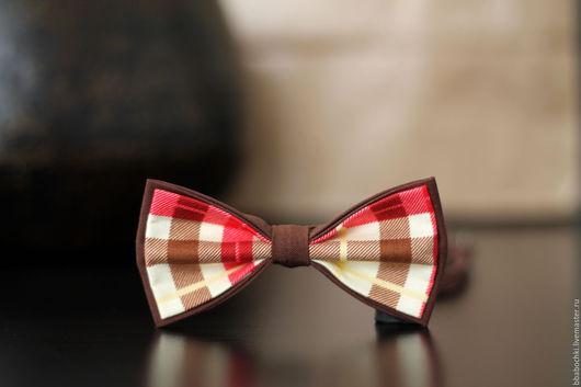 Галстуки, бабочки ручной работы. Ярмарка Мастеров - ручная работа. Купить Бабочка красно-коричневая в клетку детская/взрослая. Handmade.