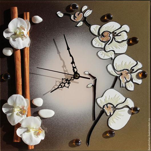 """Часы для дома ручной работы. Ярмарка Мастеров - ручная работа. Купить Часы """"Нежность орхидеи 2"""". Handmade. Комбинированный, фаленопсис"""