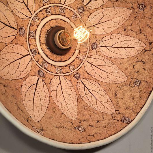 Освещение ручной работы. Ярмарка Мастеров - ручная работа. Купить Керамический светильник с набивным рисунком «Железо». Handmade. Керамический плафон