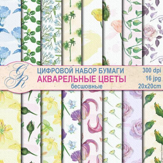 Открытки и скрапбукинг ручной работы. Ярмарка Мастеров - ручная работа. Купить Набор цифровой бумаги для скрапбукинга и декупажа Цветы (155). Handmade.